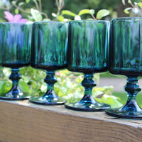 2 vintage teal blue goblets by colony in the nouveau riviera blue pattern, wedding table glasses, retro barware, teal blue glasses,