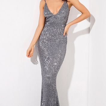 Night Of My Life Dark Grey Sequin Sleeveless Spaghetti Strap Plunge V Neck Backless Mermaid Maxi Dress