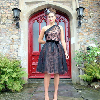 Black Lace Asymmetric Illusion Dress MADE TO ORDER by makemeadress