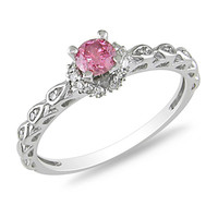 3/8 CT. T.W. Enhanced Pink and White Diamond Engagement Ring in 14K White Gold