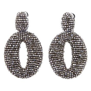 Oscar de la Renta Beaded Frontal Hoop Earrings | Nordstrom