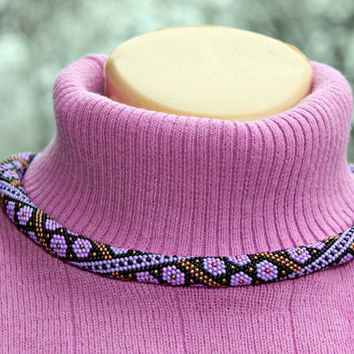 Violet color flowers pattern in wonderful beaded crochet rope necklace, Beadwork, Handmade Jewelry, Gift for her