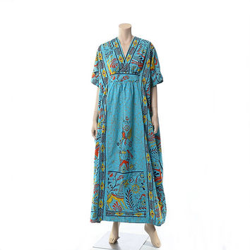Vintage 60s 70s Ethnic Animals Mexican Caftan Dress 1960s 1970s Labachin Mexico Horses Giraffes Birds Cotton Hippie Muumuu Boho Kaftan / OS