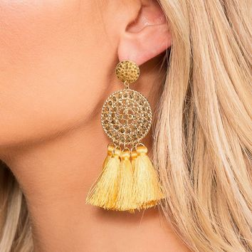 Naomi Honey Tassel Earrings