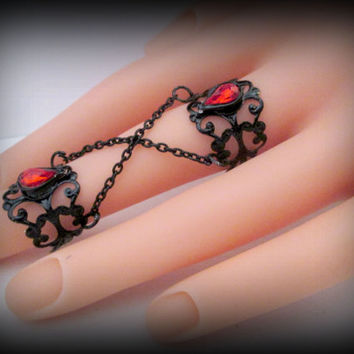 Black Filigree Double Ring-Knuckle Ring-Adjustable Ring-Armor ring-gothic ring-one size