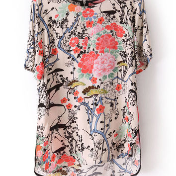 Beige Floral Short Sleeve Chiffon Top