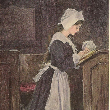 Christy Girl Puritan Girl in Prayer Original Color Print Litho Bookplate from 1906 The Christy Girl Book Howard Chandler Christy