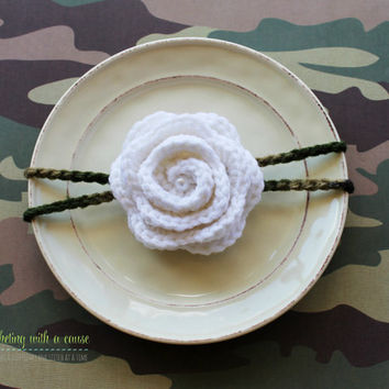 Camo Crocheted Headband - With White Rose - Pearl - Baby Girl - Toddler - Woman's Headband