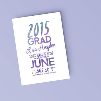 Printable Graduation Announcement Invitation - Purple Watercolor College Grad announcement - DIY Ready to print invitation