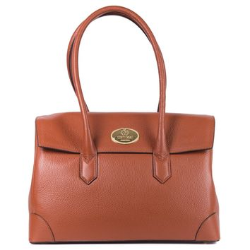 Roberto Cavalli Brown Grained Leather Double Compartment Shoulder Bag