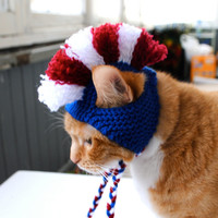 Mohawk Cat Hat - Red, White, Blue - Hand Knit Cat Costume
