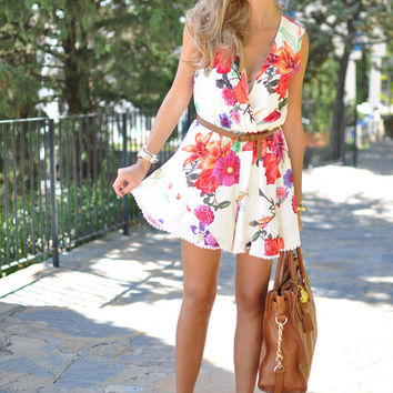 White Floral Print Wrap Front Sleeveless Romper