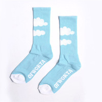 Odd Future OFWGKTA Sky Blue & White Clouds Socks