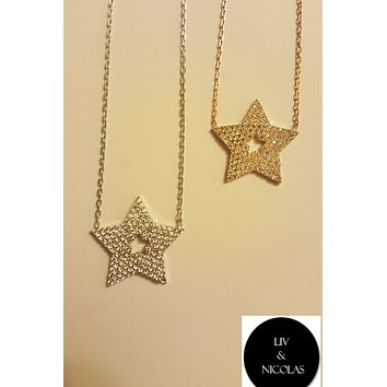 Solid 925 Sterling Silver White Zirconia Star Necklaces