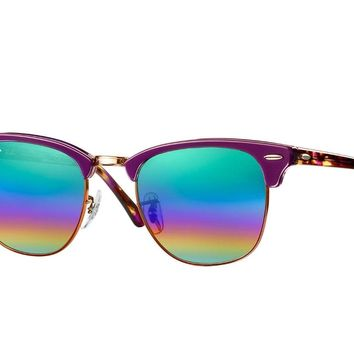 Ray Ban Sunglasses RB3016 221C3E 49MM Clubmaster Green Rainbow Flash Square
