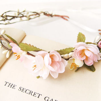 Flower Crown, Bridal Headpiece, Spring Blossoms, Floral Headband, Pink Ivory Wreath, Woodland Wedding Hair Accessories, Rustic,