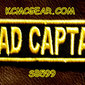 ROAD CAPTAIN YELLOW ON BLACK Small Badge Patch for Vest jacket SB599