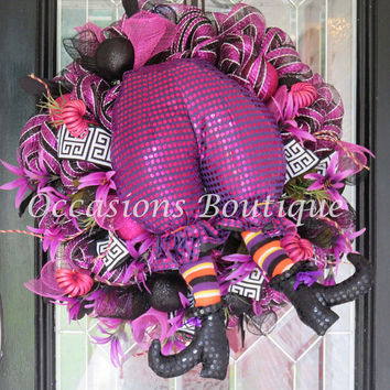 Halloween Wreath, Witch Wreath, Halloween Decoration, Wreath for Door, Front door wreath, Fall Wreath, Ready to Ship