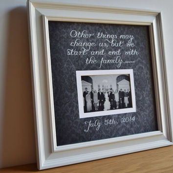 Family Picture Frame - personalized frame - wooden frame - square frame - custom quote frame - Grandparent - Parent - Family - 15x15
