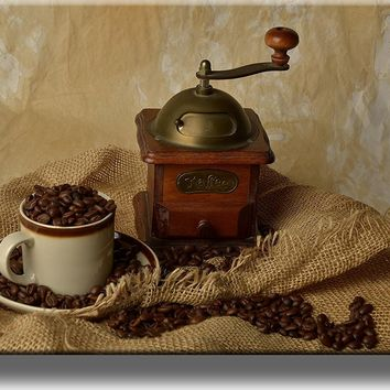 Coffee Grinder Kitchen Picture on Stretched Canvas, Wall Art Décor, Ready to Hang!