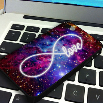 Galaxy Nebula Infinity of Love iPhone 5 iPhone 4 / 4S Plastic Hard Case Soft Rubber Case