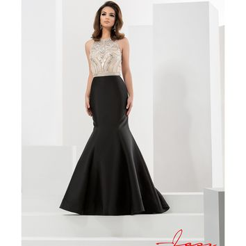 Preorder - Jasz Couture 5734 Black & Nude Mermaid Embellished Halter Long Gown 2016 Prom Dresses