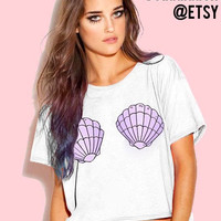SALE- Mermaid cropped tee