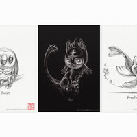 "Rowlet, Litten and Popplio - Alola Gen 7 Pokémon starters - set of three 5 x 7"" prints (pokemon drawing, art, artwork, gaming, nintendo)"