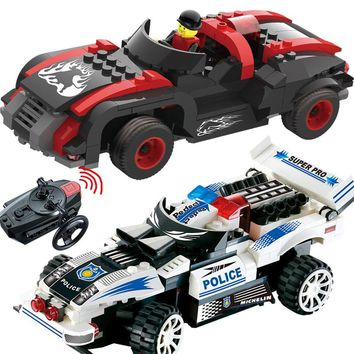 NEW Technic Tracer RC Car Blocks LegoINGLYS Vehicle Remote Control City Police Mini Action Figures Plastic Bricks Toys For Boys