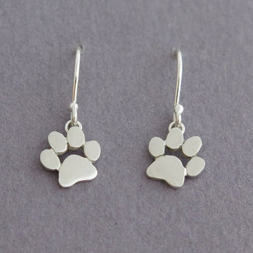 Dangle Paw Print Earrings - Sterling Silver Cats and Dogs Paws - Pet Jewelry - Animal Lover Gift