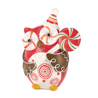 Owl Holding Candy Cane Lollipop