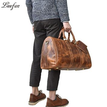 Men's Crazy horse leather travel bag Vintage big Cow leather travel duffel luggage bag casual Boston bag Large Shoulder bag