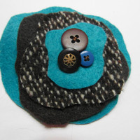 Dark Brown and Turquoise - Felt Brooch