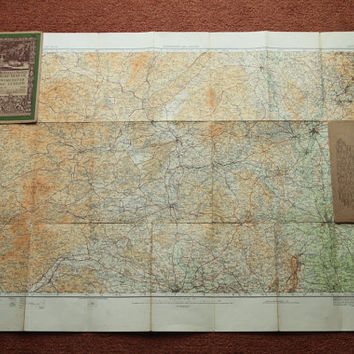 1914 Ordnance Survey Road Map of Worcester and Ludlow