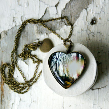 Sun Through the Winter Trees Heart Shaped Photo Jewelry Pendant NYC Necklace, Bronze New York City Wearable Art