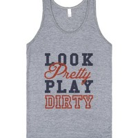 Look Pretty, Play Dirty (Tank)-Unisex Athletic Grey Tank