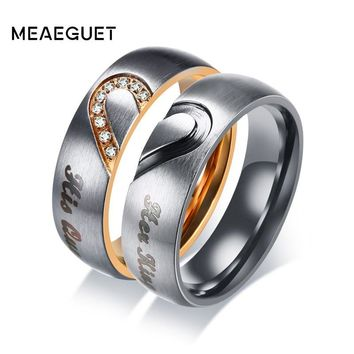 Cool Meaeguet His Queen & Hers King Heart Wedding Rings for Women Men Stainless Steel Cubic Zirconia Couple Engagement JewleryAT_93_12
