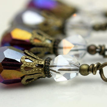 Vintage Style Bead Dangle Charm Drop Set in Purple Grape AB Teardrop Crystals and Clear Crystals