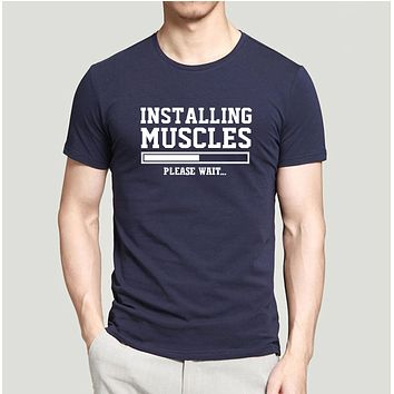 Installing Muscles T-Shirts - Men's Crew Neck Novelty Tee