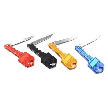 DCCK7N3 Outdoor Useful Key Knife Keychain Key Shaped Folding Pocket Knife Self Defense for Camping Hiking Picnic Mount Climbing