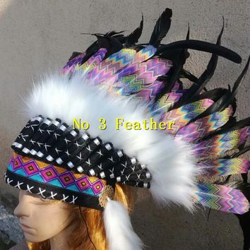 21 inch high Indian chief feather Headdress war bonnet american feather costume indian chief war bonnet