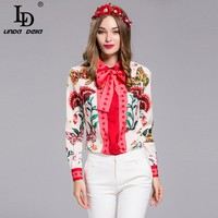 Plus size Blouse Women's Long sleeve Bow collar Charming Floral Print Shirt Fashion Casual Top