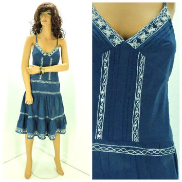 Boho embroidered sundress size S, blue Indie beach summer dress, 90s bohemian embroidered smocked sun dress, SunnyBohoVintage
