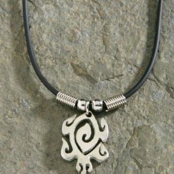 Pewter Maori Honu Rubber Cord Necklace