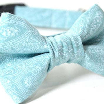 Designer Dog Collar and Bow Tie CUSTOM Hand-Dyed Blue Paisley - teal, dog collar and bowtie, boy dog collar