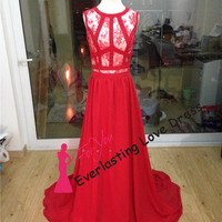 Simple Sexy Exposed Boning Nude Nuder Chiffon Prom Dresses Red Sleeveless Evening Gown Red Carpet Dress For Celebrity Party Formal Dresses