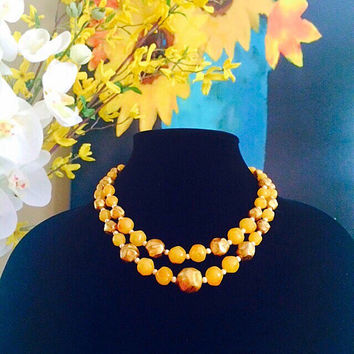 Double Strand Lucite Bead Necklace, Yellow Lucite Beads Necklace, Vintage Handmade Costume Jewelry Necklace
