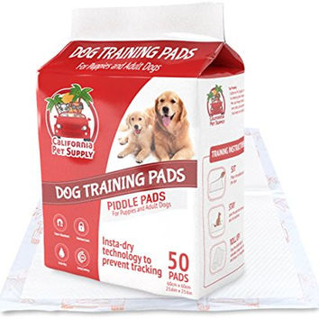 "Dog Training Pads- Maximum-Absorption Puppy Pads w/Insta-Dry Technology offer Low Price, & No Tracking. Save Money & Frustration with Leak-Resistant Pads from California Pet Supply - 23.6"" x 23.6"""