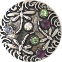 Chunk Snap Charm Dragonflies with Clear Purple Green Stones 20mm