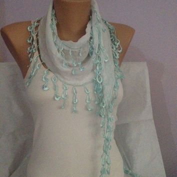 White Scarf With Blue Lace - Cotton Lace Scarf - Wedding Accessories - Bridesmaid Gift - Scarf